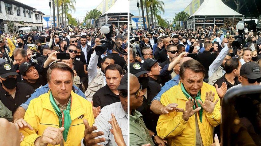Aos gritos de 'mito', Bolsonaro é recebido por milhares de apoiadores em evento no RS